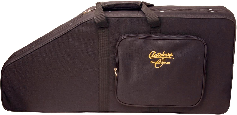 closeup of Oscar Schmidt black soft Autoharp case