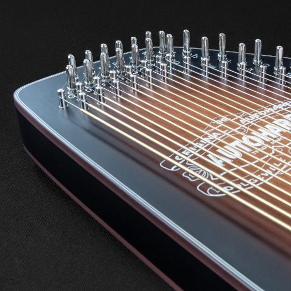 closeup of strings on Oscar Schmidt Autoharp