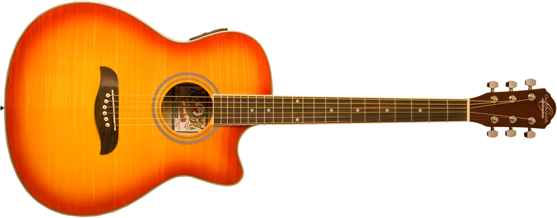 yellow and orange Oscar Schmidt acoustic/electric guitar
