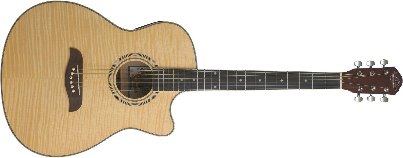 cream-colored Oscar Schmidt acoustic/electric guitar