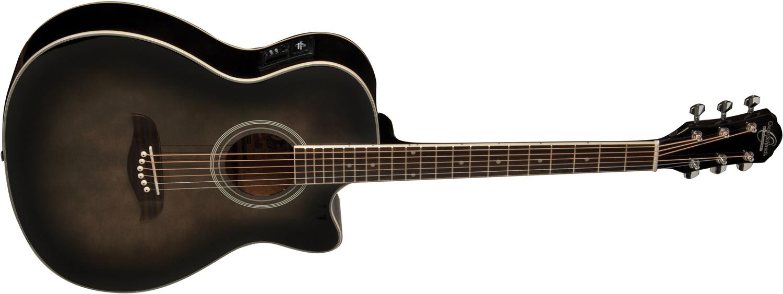 dark brown Oscar Schmidt acoustic/electric guitar with darkened edges