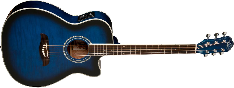 blue Oscar Schmidt acoustic/electric guitar with darkened edges