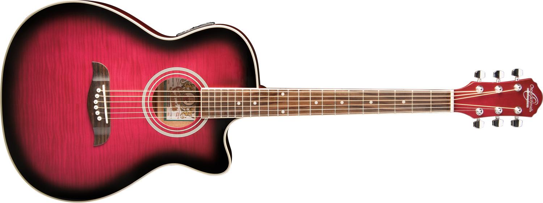 horizontal pink Oscar Schmidt acoustic guitar
