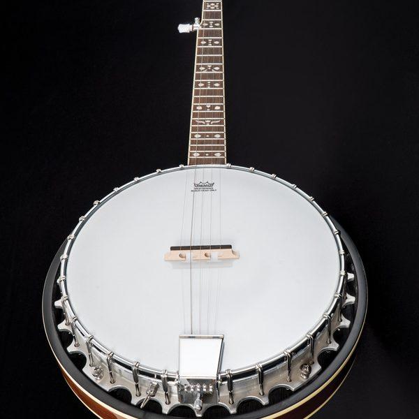 angled front view of Oscar Schmidt banjo