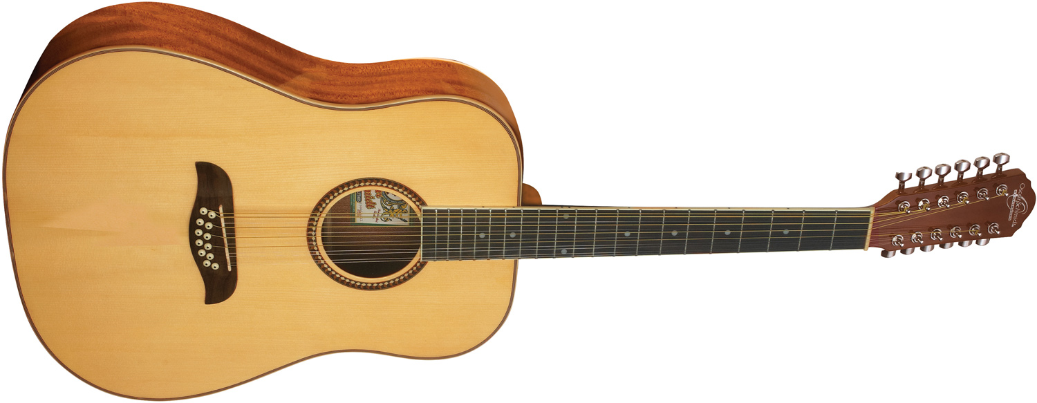 Oscar Schmidt light tan 12-string acoustic guitar