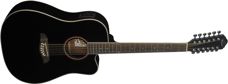 black Oscar Schmidt acoustic/electric guitar