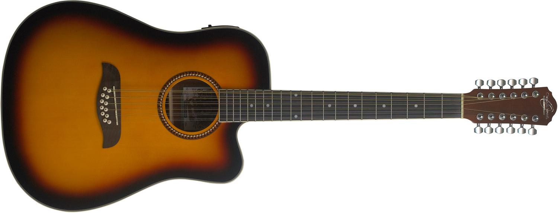 Light brown Oscar Schmidt 12-string acoustic/electric guitar with darkened edges