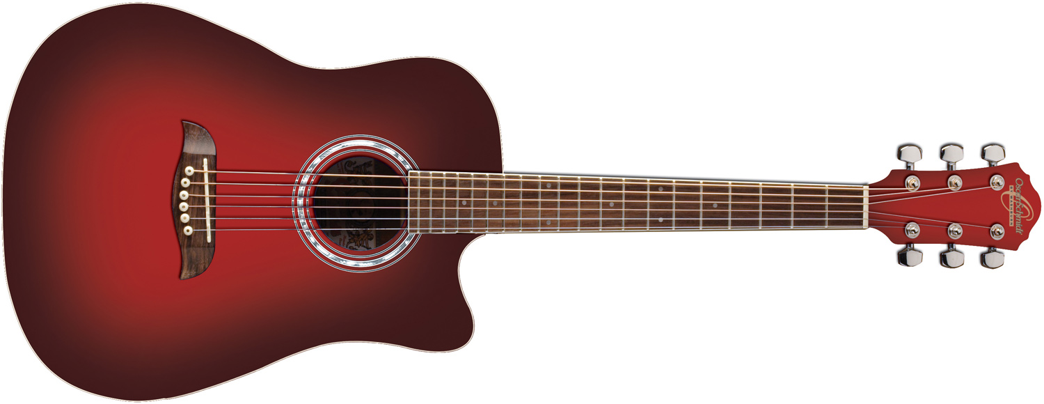 Oscar Schmidt red acoustic guitar with darkened edges