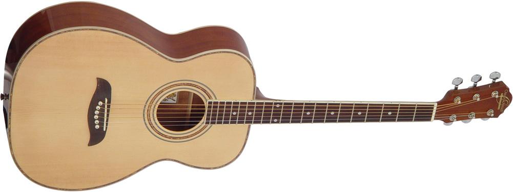Oscar Schmidt cream colored acoustic guitar