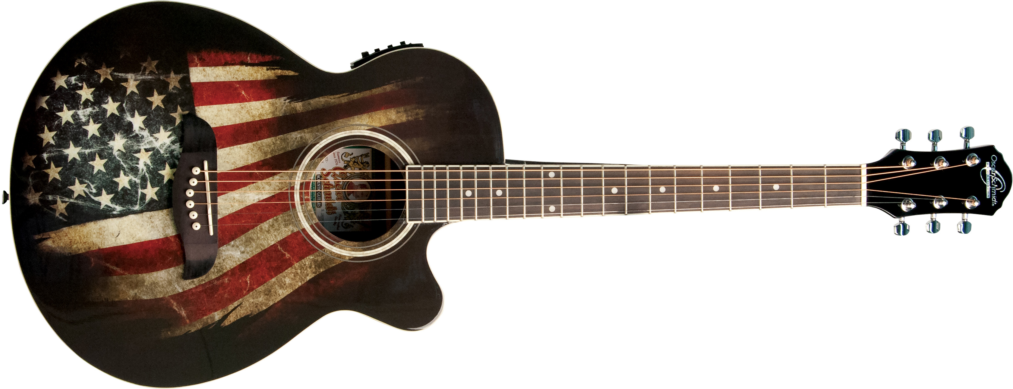 Oscar Schmidt acoustic/electric guitar with American flag design on body