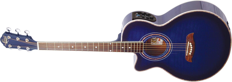 blue Oscar Schmidt acoustic electric guitar