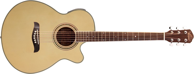 light brown Oscar Schmidt acoustic/ electric guitar