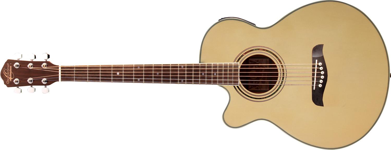 light tan Oscar Schmidt acoustic guitar