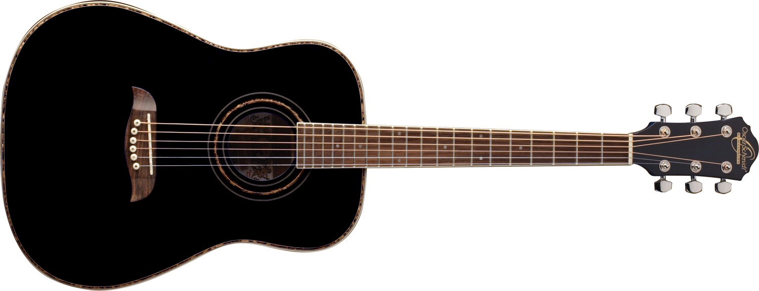 Oscar Schmidt black acoustic guitar