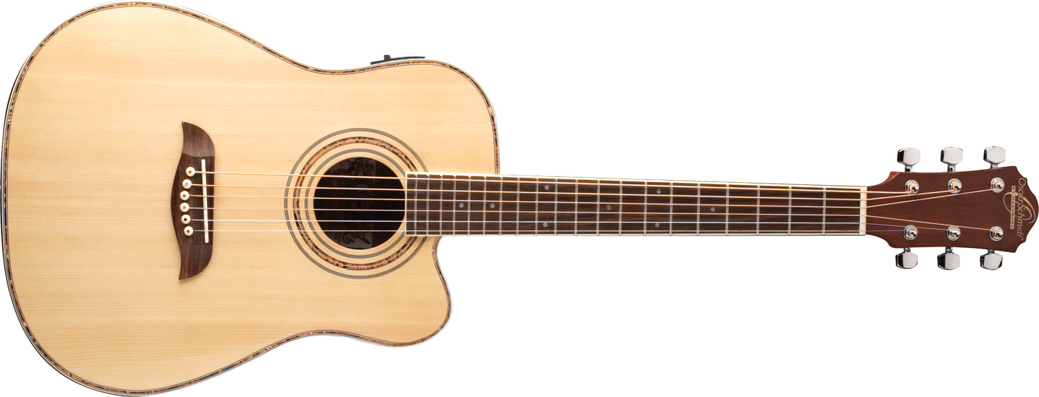 cream colored Oscar Schmidt acoustic guitar