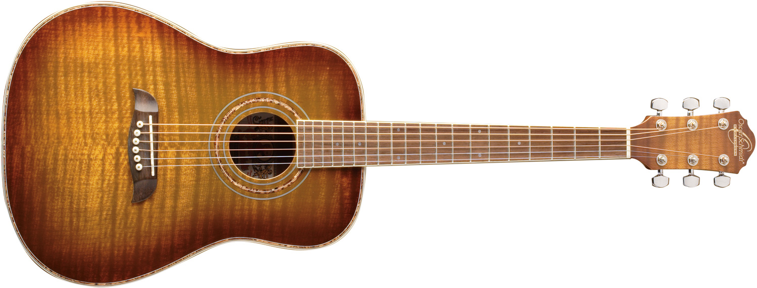 Oscar Schmidt brown and orange wood design acoustic guitar