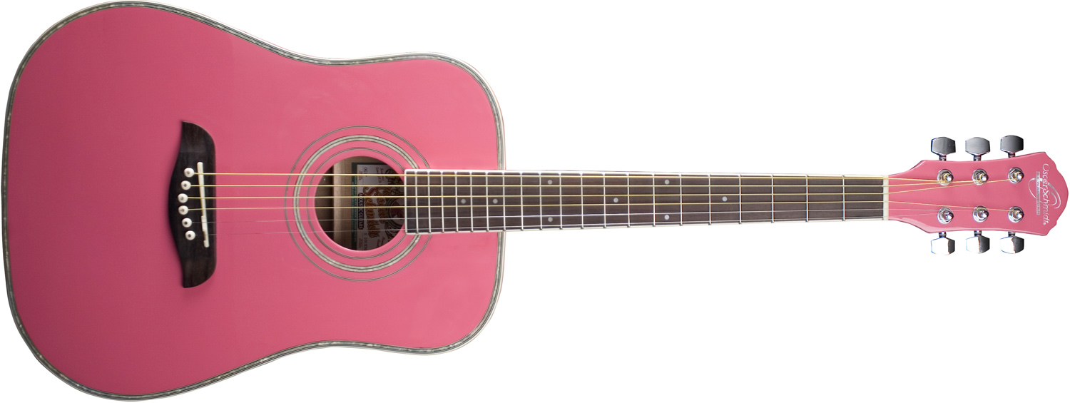 Oscar Schmidt light pink acoustic guitar