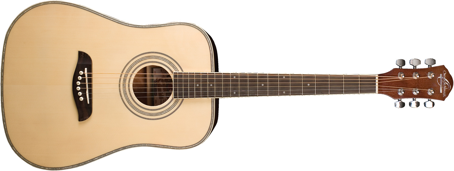 Oscar Schmidt cream-colored acoustic guitar