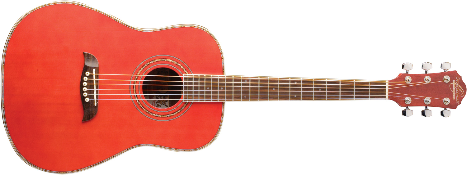 Oscar Schmidt salmon-colored acoustic guitar