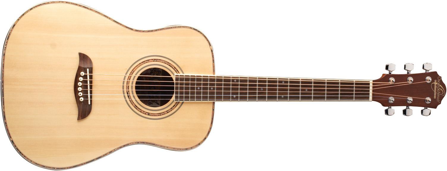 Oscar Schmidt cream-colored acoustic guitar