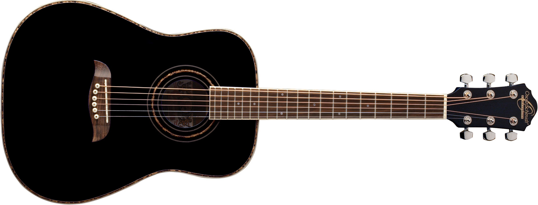 Oscar Schmidt black acoustic guitar