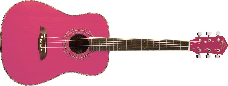 Oscar Schmidt pink acoustic guitar