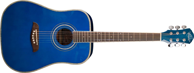 blue Oscar Schmidt acoustic guitar