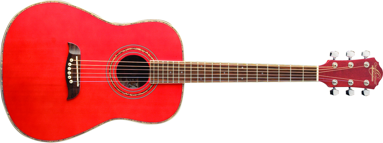 Oscar Schmidt hot pink acoustic guitar