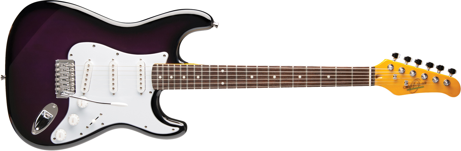 Oscar Schmidt dark purple electric guitar