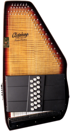 closeup of cream and black Oscar Schmidt Autoharp