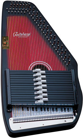 closeup of red and black Oscar Schmidt Autoharp