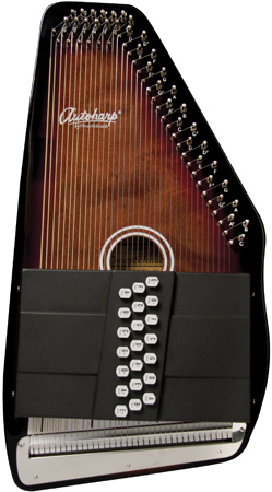 closeup of brown and black Oscar Schmidt Autoharp