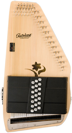 closeup of cream Oscar Schmidt Autoharp