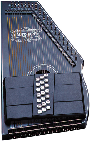 closeup of metallic blue Oscar Schmidt Autoharp