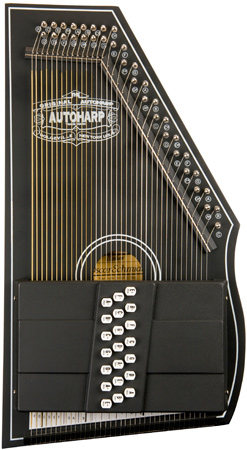 closeup of black Oscar Schmidt Autoharp