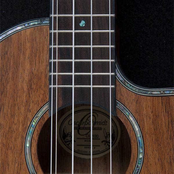 closeup of Oscar Schmidt ukulele