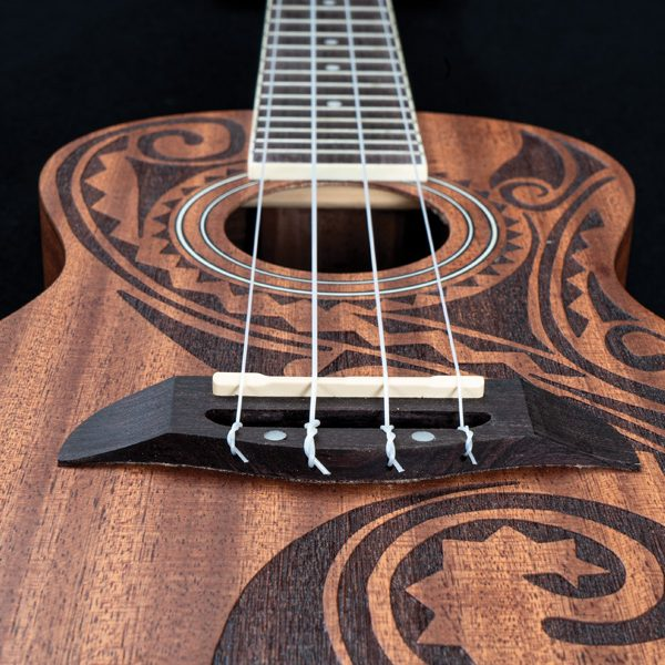 head-on perspective of Oscar Schmidt ukulele from bottom
