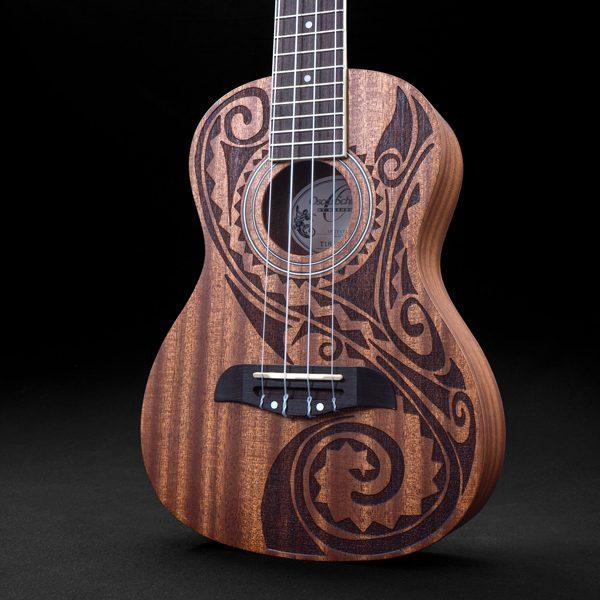 closeup of body of Oscar Schmidt ukulele