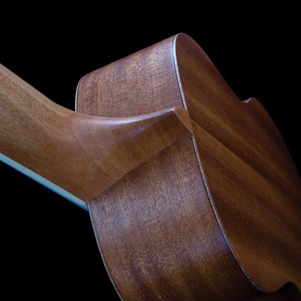 closeup of back of neck and body of Oscar Schmidt ukulele