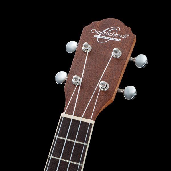 closeup of head of Oscar Schmidt ukulele